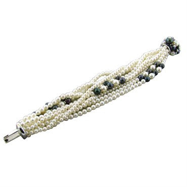 thumbnail image of Trianon 18k White Gold Multi Strand Pearl Diamond Bracelet