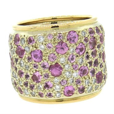 image of Pomellato Sabbia Pink Sapphire Diamond 18k Gold Wide Band Ring