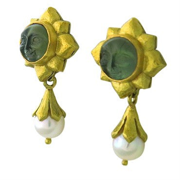 image of Elizabeth Locke 18K Gold Venetian Glass Pearl Day Night Earrings