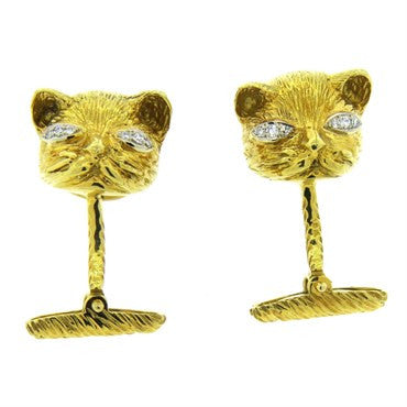 thumbnail image of Whimsical Diamond 18k Gold Cat Cufflinks