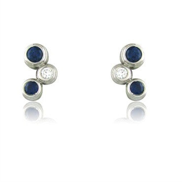 image of Estate Tiffany & Co Bubbles Platinum Sapphire Diamond Earrings