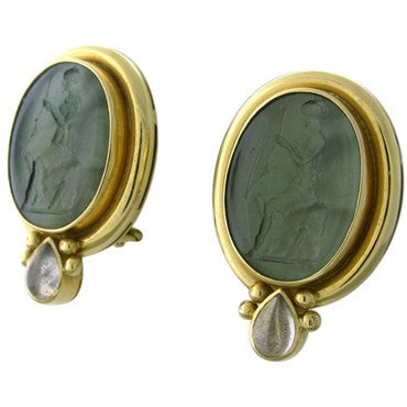 thumbnail image of Elizabeth Locke 18K Gold Venetian Glass Intaglio Moonstone Earrings