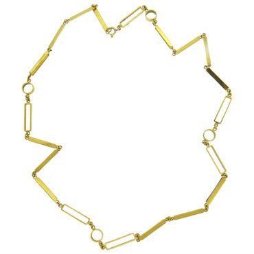 image of 1970s Geometric 18k Yellow Gold Link Long Chain Necklace