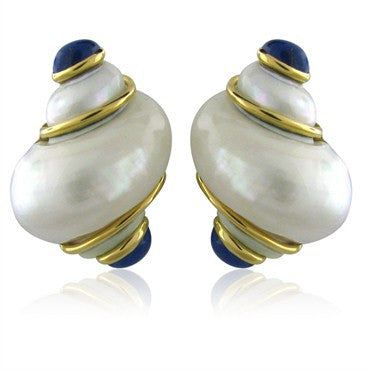 image of Estate Seaman Schepps 18K Gold Lapis Seashell Earrings