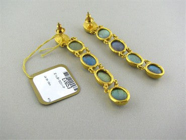 image of New Gurhan 24K Gold Labradorite Drop Earrings