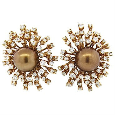 thumbnail image of Impressive Porrati Chocolate Pearl 5.00ctw Diamond 18k Gold Earrings