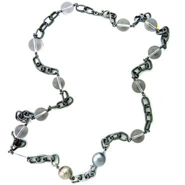 thumbnail image of Gurhan Blackened Sterling Silver Crystal Ball Chain Link Long Necklace