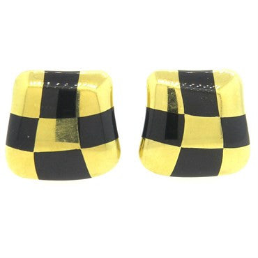 thumbnail image of 1980s Angela Cummings Jade Inlay 18k Gold Checkerboard Earrings