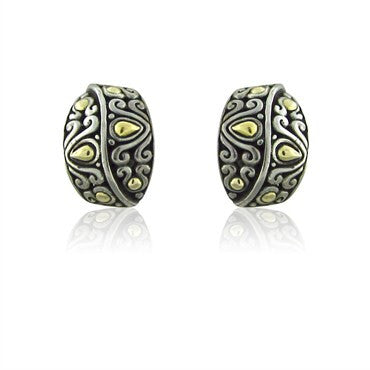 image of Estate John Hardy Sterling Silver 18K Gold Earrings