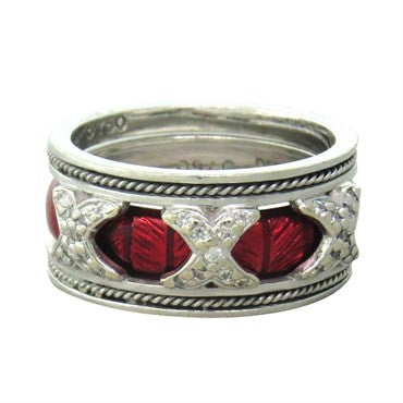 image of Hidalgo 18K Gold Diamond Red Enamel Band Ring Set