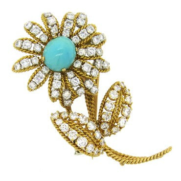 image of Vourakis Athens Diamond Turquoise Gold Flower Brooch