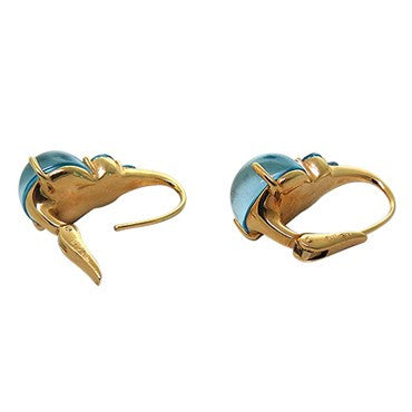 thumbnail image of New Pomellato Luna 18K Gold Blue Topaz Earrings