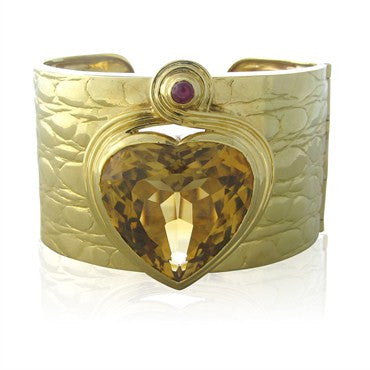 thumbnail image of Vintage Estate Gucci 18K Gold Citrine Ruby Heart Wide Cuff Bracelet