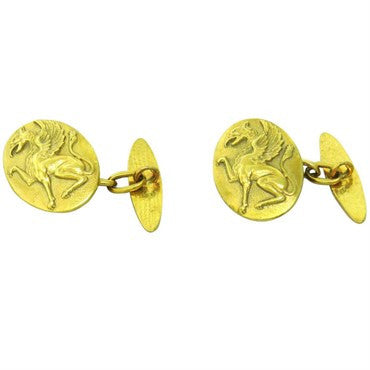 image of Art Nouveau 14k Gold Griffin Oval Cufflinks