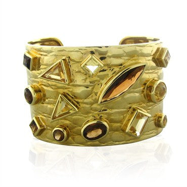 image of Estate Gucci 18K Yellow Gold Citrine Smokey Topaz Wide Cuff Bracelet