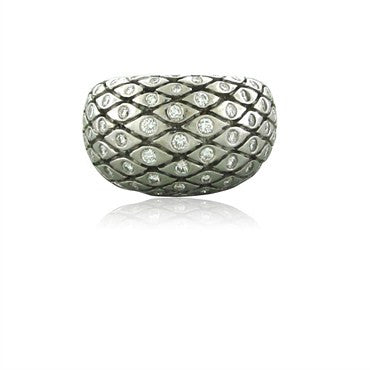 image of Estate Seidengang 18K White Gold Diamond Dome Ring