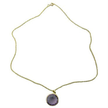 image of New Ippolita 18K Yellow Gold Amethyst Pendant Necklace
