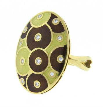 thumbnail image of Faberge Large Enamel Diamond Gold Ring