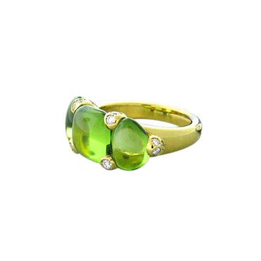 image of New Pomellato Sassi 18k Gold Diamond Peridot Ring