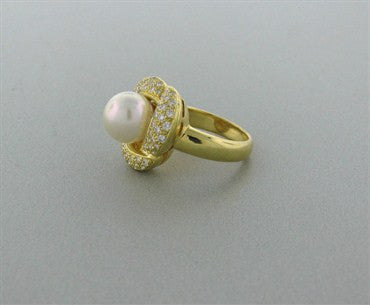 image of New Gumuchian 18K Gold Diamond Pearl Ring