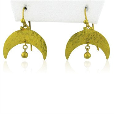 image of New Gurhan 24k Gold Crescent Earrings With Drop