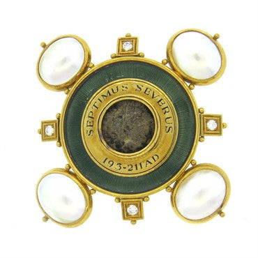 image of Elizabeth Gage Ancient Coin Pearl Diamond Enamel Gold Brooch