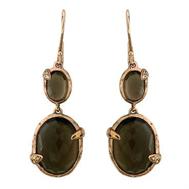 image of Ippolita Rose Collection Sterling Smokey Quartz Diamond Drop Earrings