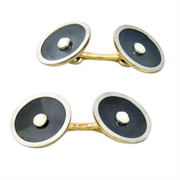thumbnail image of 1920s Art Deco Gold Onyx Pearl Cufflinks