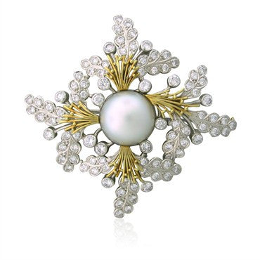 thumbnail image of Elizabeth Gage 18K Gold 4.70ctw Diamond 15.3mm Pearl Brooch Pin
