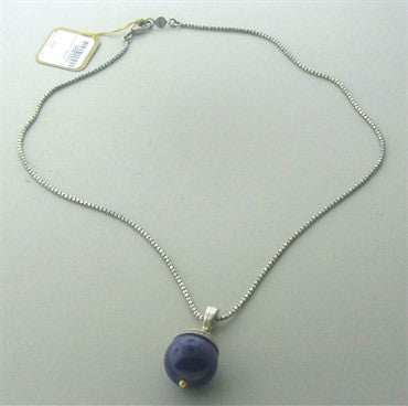 thumbnail image of New Gurhan 24K Gold Sterling Silver Lapis Ball Drop Pendant Necklace