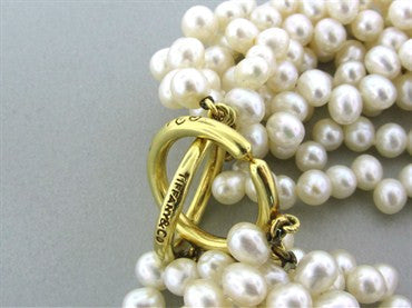 thumbnail image of Tiffany & Co Picasso 18K Gold Multi Strand Pearl Torsade Necklace