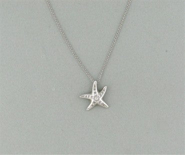 thumbnail image of Tiffany & Co Elsa Peretti Platinum Diamond Starfish Pendant Necklace