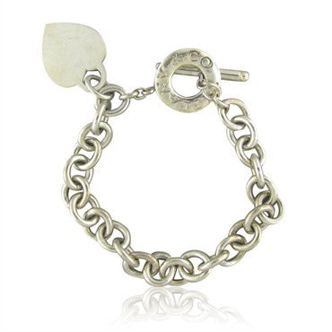 image of Tiffany & Co. Sterling Silver Heart Tag Chain Link Bracelet