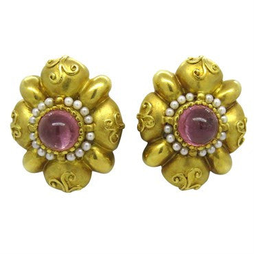 image of Large Seidengang Pink Tourmaline Pearl Gold Earrings