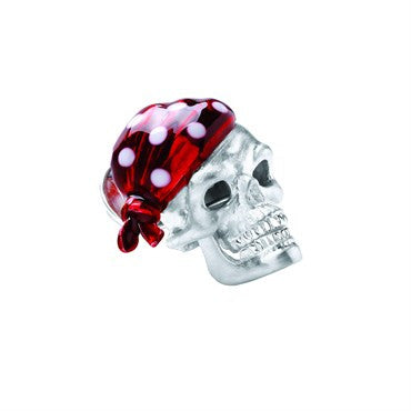 image of Deakin & Francis Ruby Red Bandana Sterling Silver Skull Lapel Pin