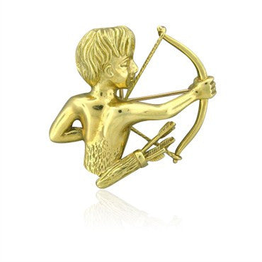 image of Tiffany & Co 18k Gold Sagittarius Brooch Pin Pendant