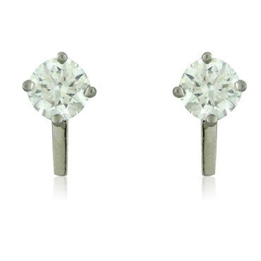 image of Tiffany & Co Platinum 2.44ctw F VVS2 Diamond Stud Earrings