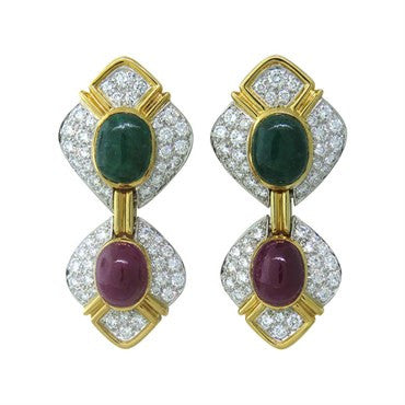 image of Diamond 18k Gold Emerald Ruby Cabochon Earrings