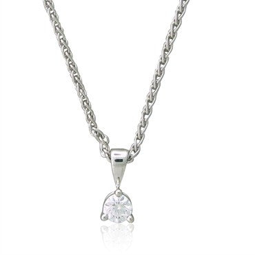thumbnail image of New Hearts On Fire Three Prong Platinum Diamond Pendant Necklace