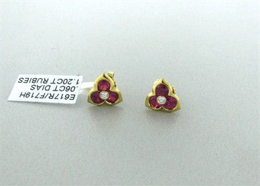image of New Gumuchian Past Present And Future 18K Gold Diamond Ruby Earrings