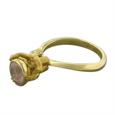 image of New Carrera Y Carrera Angelitos 18K Gold Pink Quartz Ring