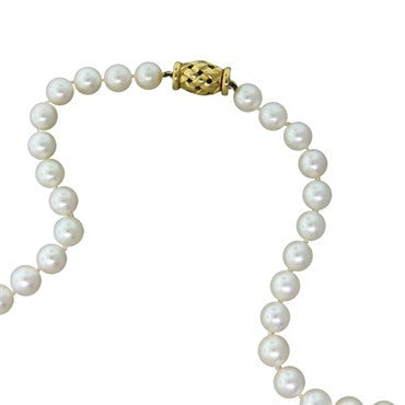 thumbnail image of Tiffany & Co 18k Gold 7.5mm to 7.7mm Pearl Necklace