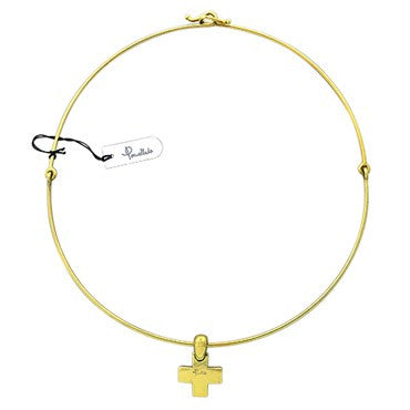 image of New Pomellato 18k Gold Cross Pendant Necklace