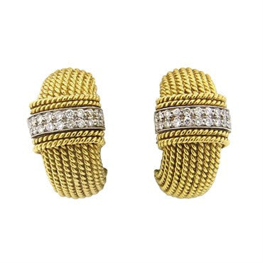 image of Roberto Coin 18k Gold Diamond Half Hoop Earrings