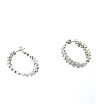 thumbnail image of Fine 3.00ctw Diamond 18k Gold Hoop Earrings