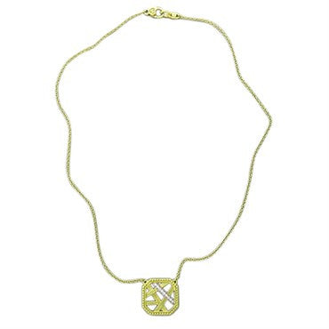 image of Judith Ripka 18k Gold Diamond Square Pendant Necklace