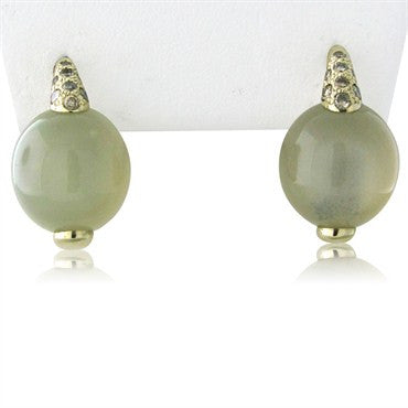 image of Pomellato Luna 18K Gold Diamond Moonstone Earrings