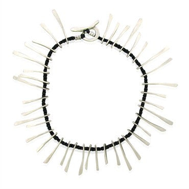 thumbnail image of Estate Jill Platner Starburst Custom Sterling Woven Leather Necklace