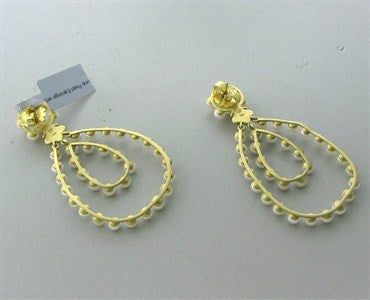 thumbnail image of Slane & Slane 18K Gold Diamond Pearl Double Loop Earrings