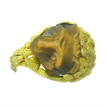image of 1960s Continental Carved Tiger's Eye 18K Gold Bear Ring